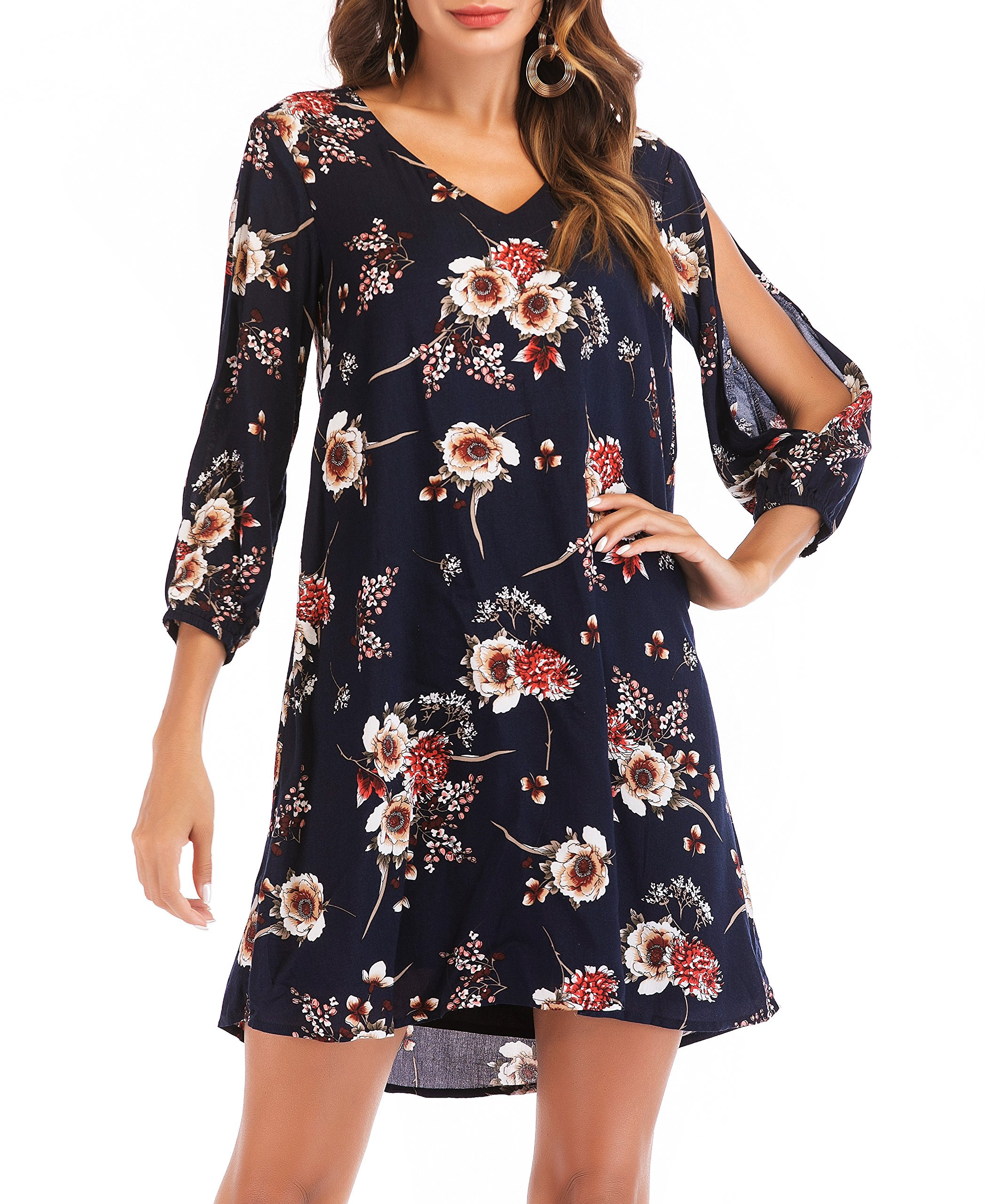 NALATI SUNNOW Women's V Neck Cold Shoulder Floral Print Long Open Sleeves Casual Shift Dress (XL(US16-18), Navy Blue)