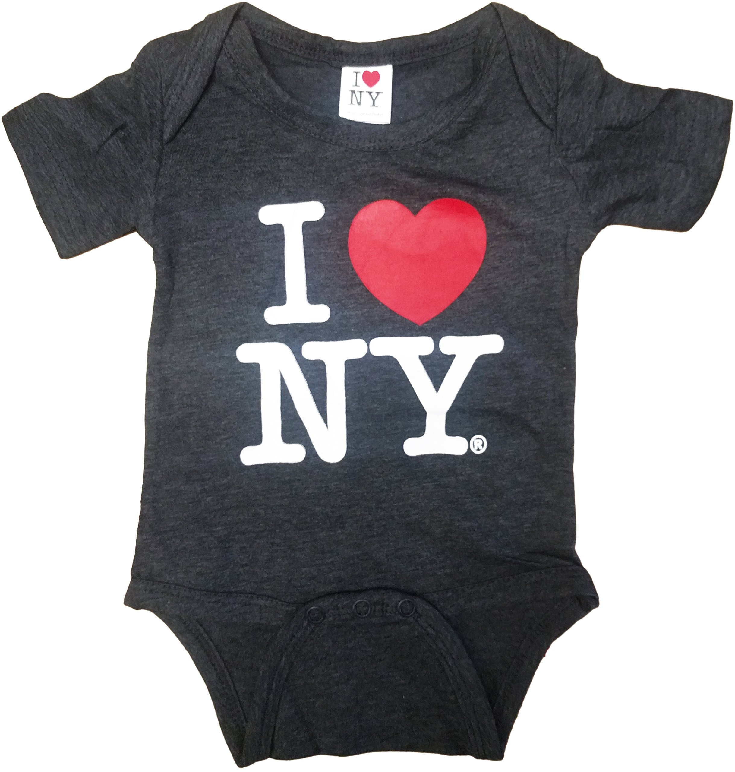 I Love NY Charcoal Baby Bodysuits Officially Licensed New York Infant (18m)