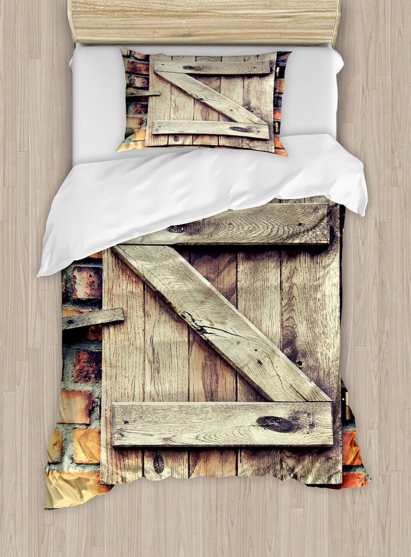 Ambesonne Rustic Duvet Cover Set Twin Size, Natural Material Wooden Window of a Red Brick Country House Idyllic Pastoral Theme, Decorative 2 Piece Bedding Set with 1 Pillow Sham, Pale Brown