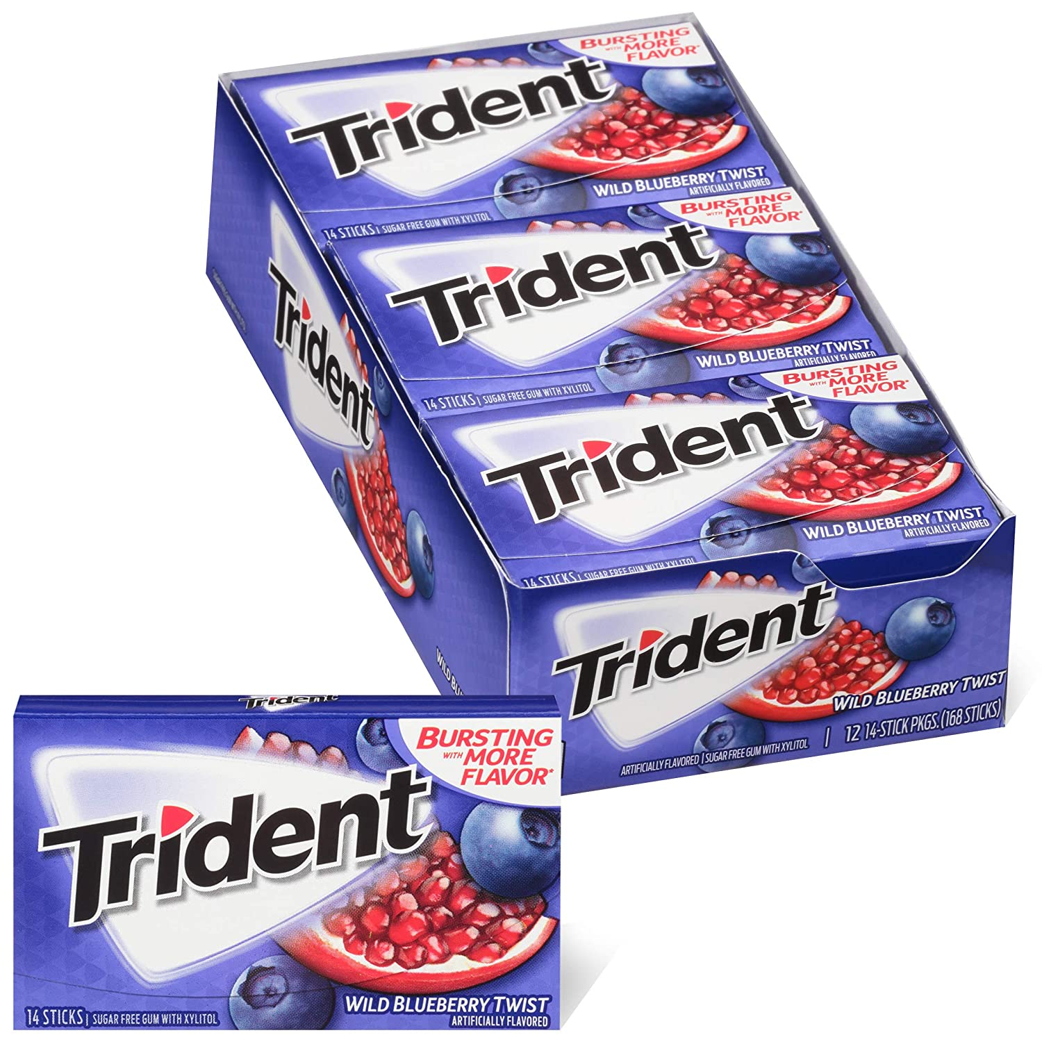 Trident Wild Blueberry Twist Sugar Free Gum, Made with Xylitol, 12 Packs of 14 Pieces (168 Total Pieces)