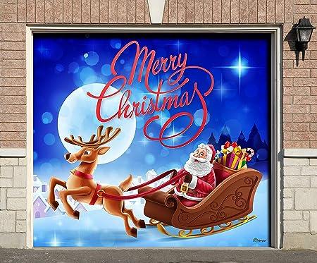 Amazon Com Victory Corps Santa Sleigh Reindeer Christmas Holiday Garage Door Banner Mural Sign Décor 7 X 8 Car Garage The Original Holiday Garage Door Banner Decor Garden Outdoor
