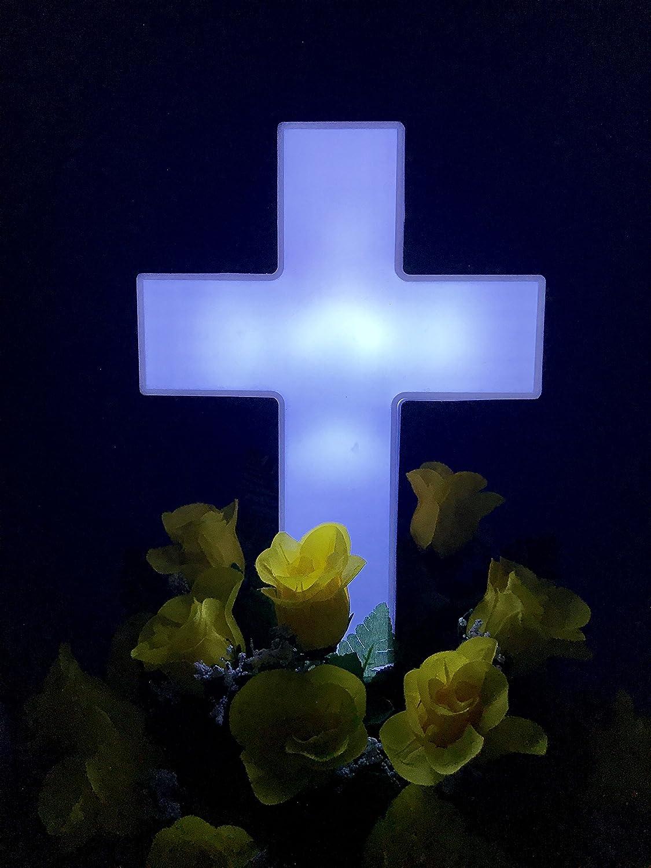 Solar Grave Decorations Amazoncom Solar Lighted Cross Powered By Gods Sunlight