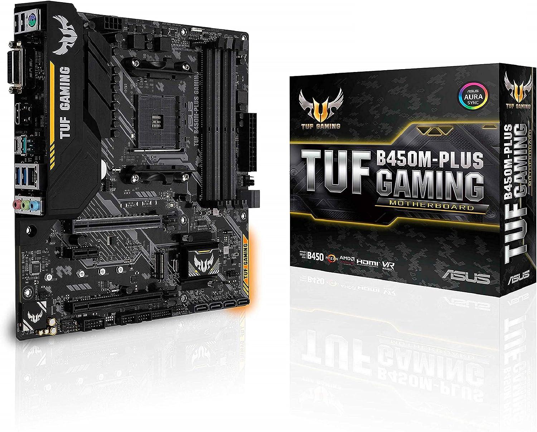 Asus TUF B450M-PLUS GAMING - Placa base de gaming mATX AMD B450 con iluminación Aura Sync RGB LED, soporte de DDR4 3200 MHz, M.2 de 32Gbps, HDMI 2.0b, tipo C y USB 3.1 Gen. 2 nativo, soporta Ryzen3000