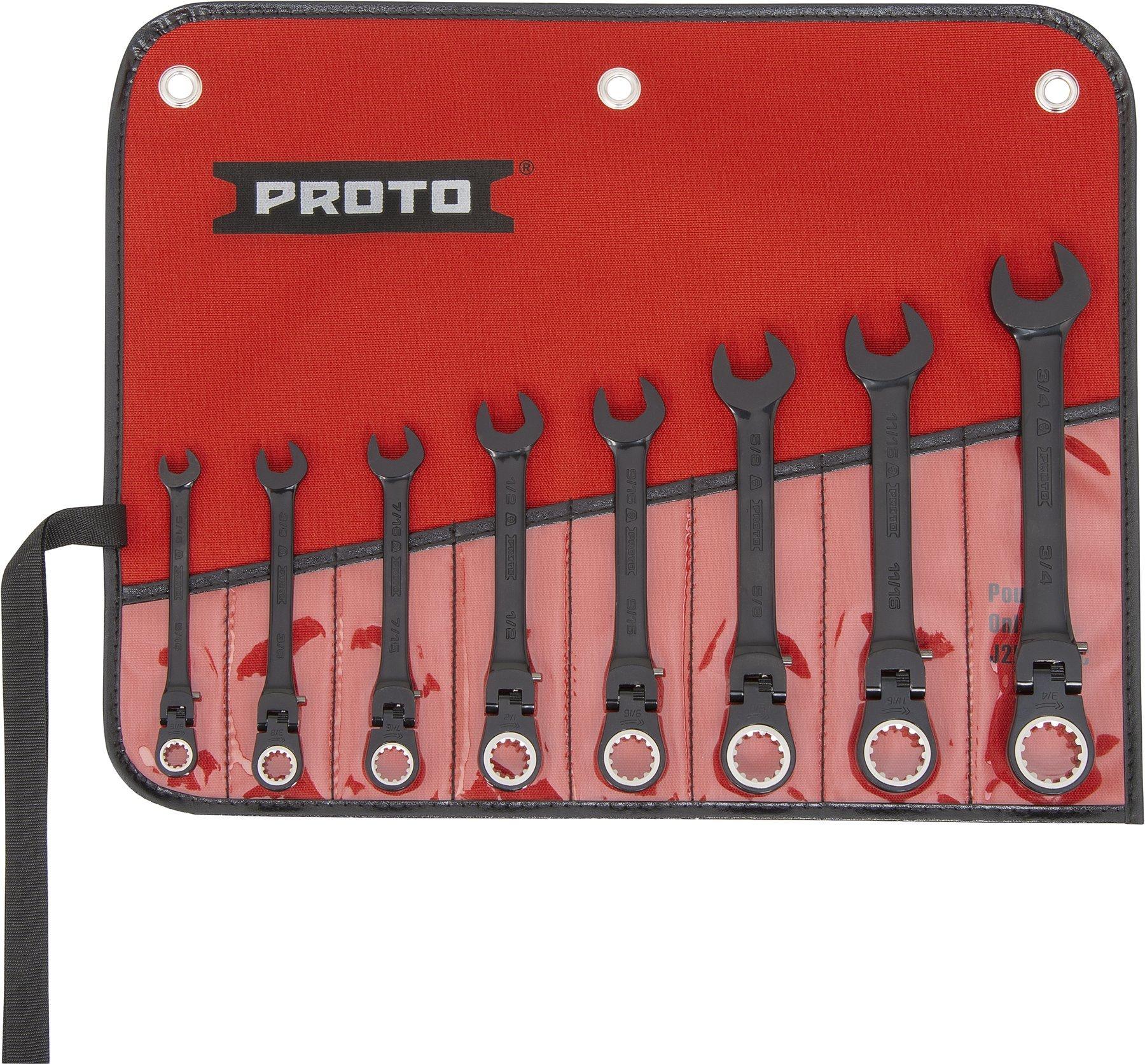 Stanley Proto Industrial JSCVF-8S Black Flexible 8 Piece Ratchet Wrench Set