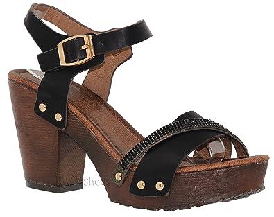 2130db0b2304 Amazon.com  MVE Shoes Women s Ankle Strap Faux Wood Platform Chunky ...