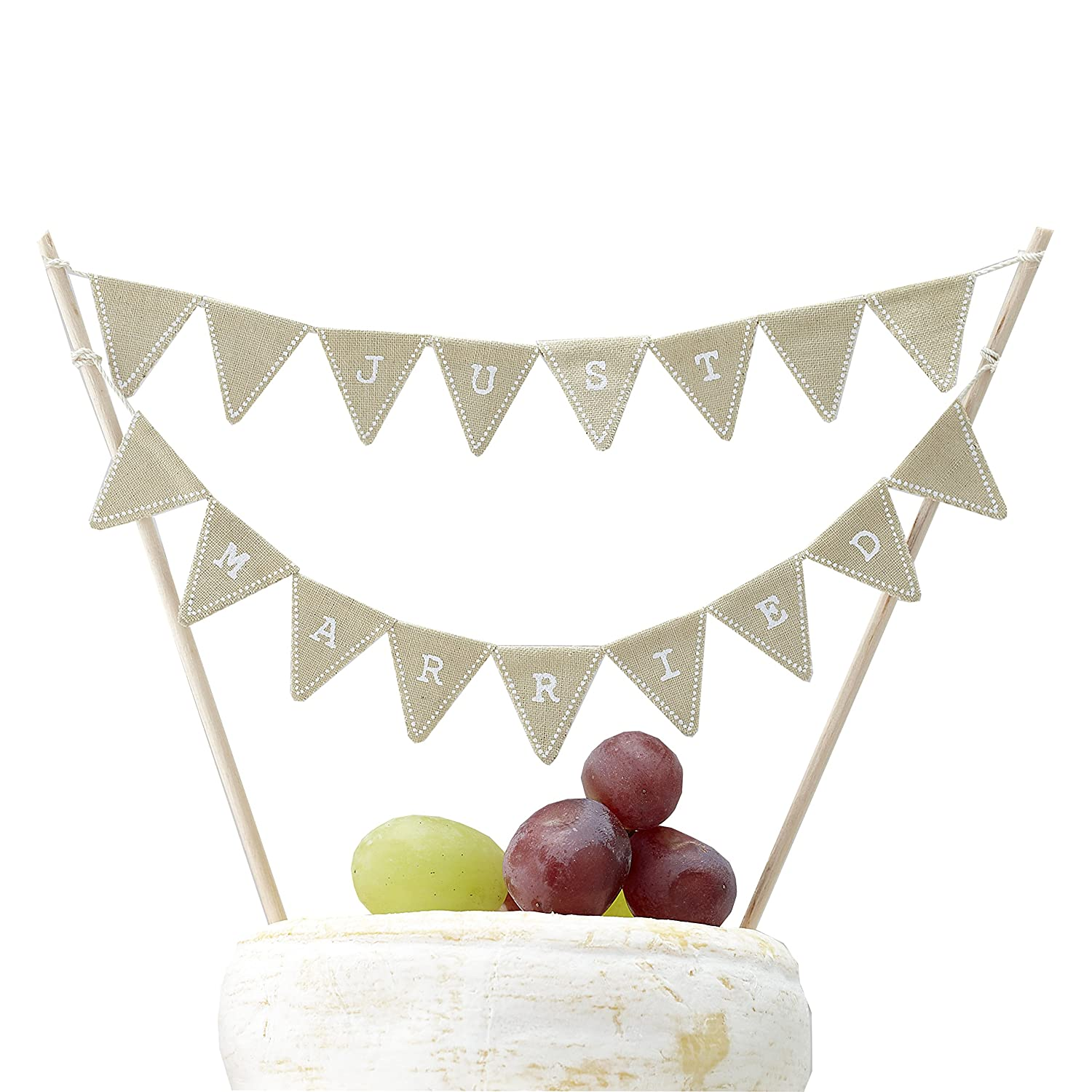 Ginger Ray Rustic Just Married Wedding Cake or Cheese Bunting ...