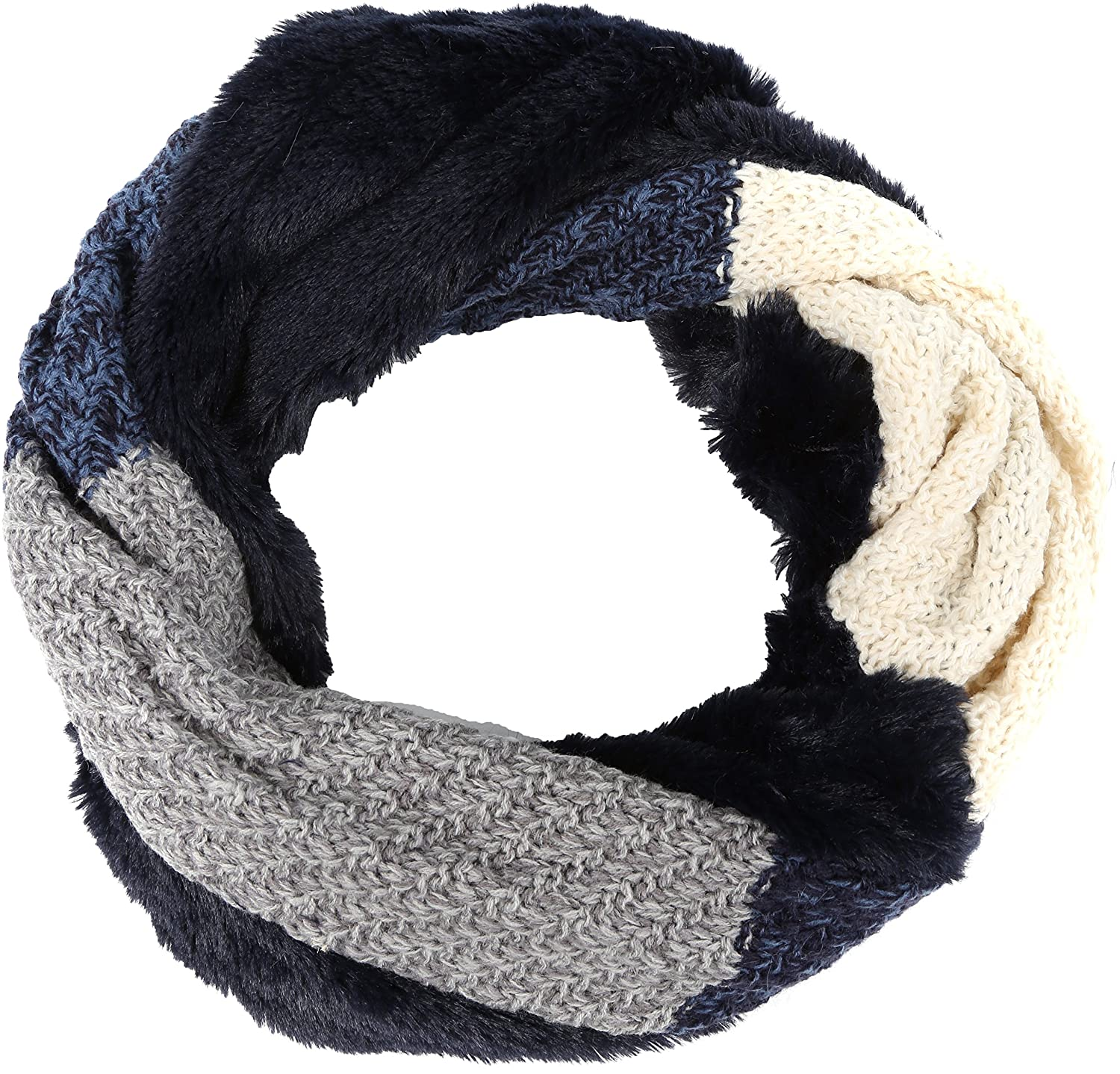 Sakkas Julie Short Wrap Around Two Sided Faux Fur And Ribbed Knit Infinity Scarf 5055861898186
