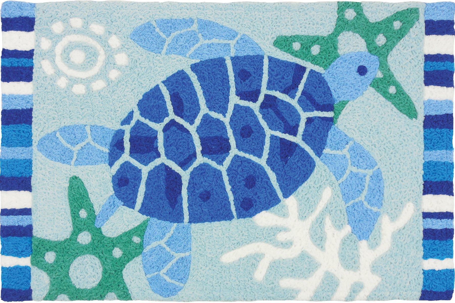Jellybean Indoor Outdoor Machine Washable Rug, Blue Sea Turtle