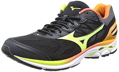 7878e716eda5 Mizuno Men's Wave Rider 21 Osaka Running Shoes, Multicolor (Black /  safetyyellow / white