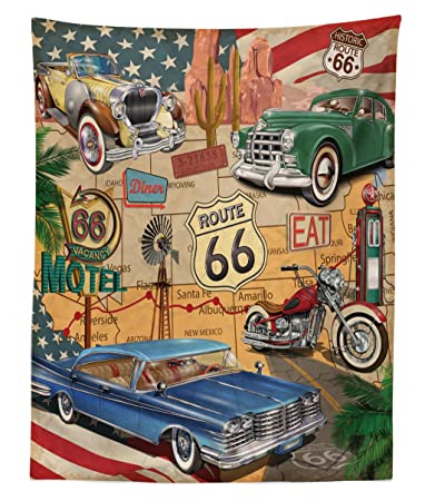 Old Fashion Cars >> Lunarable Route 66 Tapestry Twin Size Old Fashioned Cars Motorcycle On A Map Road Trip Journey American Usa Concept Wall Hanging Bedspread Bed Cover