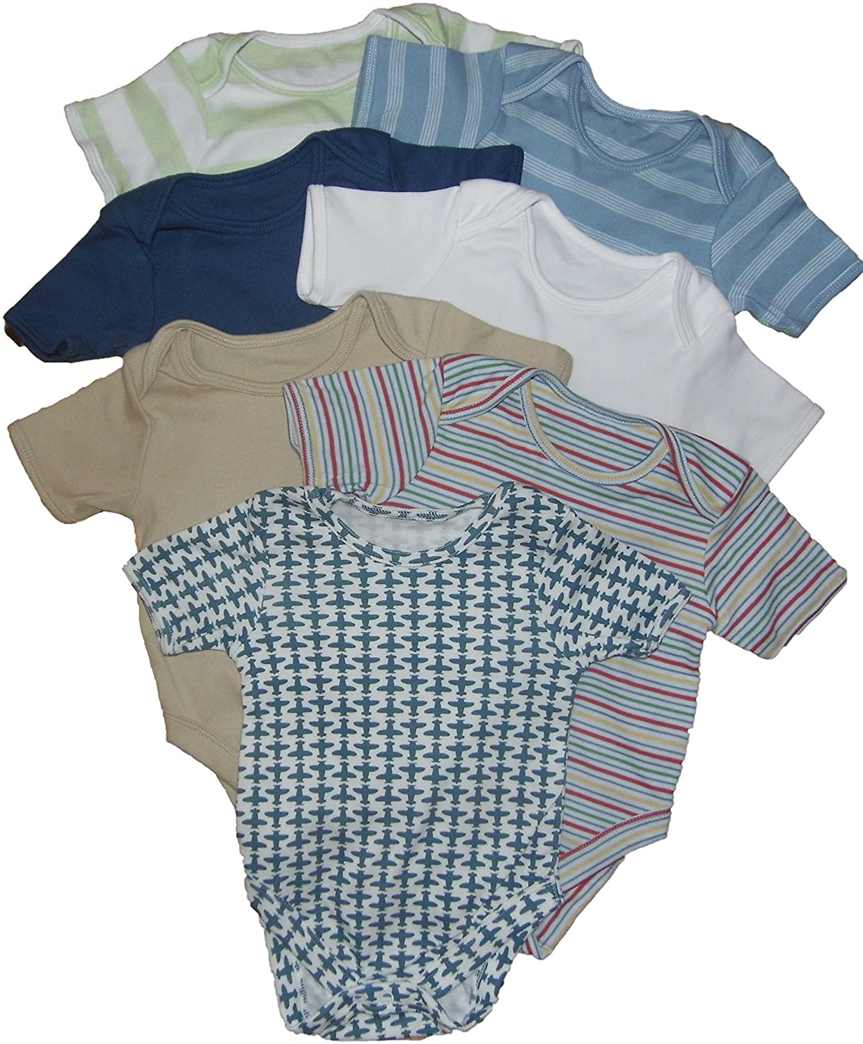 Ex-Store Baby Boys Bodysuits Vests Popper Fastening 7 PK 1M to 2-3 Years