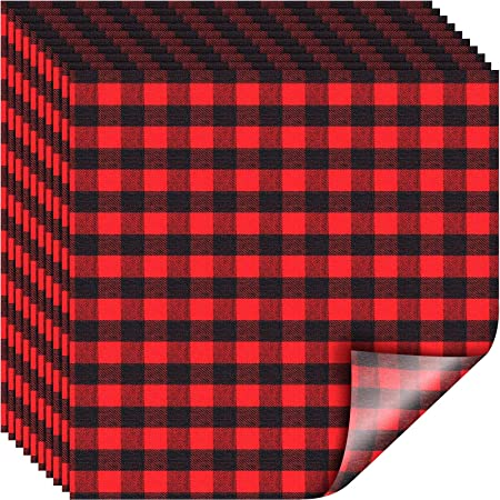 Amazon Com Frienda 10 Pieces 12 X 12 Inch Christmas Buffalo Plaid Vinyl Fabric Check Vinyl Sheets Adhesive Heat Transfer Sheet Iron On Vinyl Clothes Patches For Christmas Red And Black Plaid