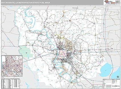 La Metro Map 2018.Amazon Com Marketmaps Baton Rouge La Metro Area Wall Map 2018