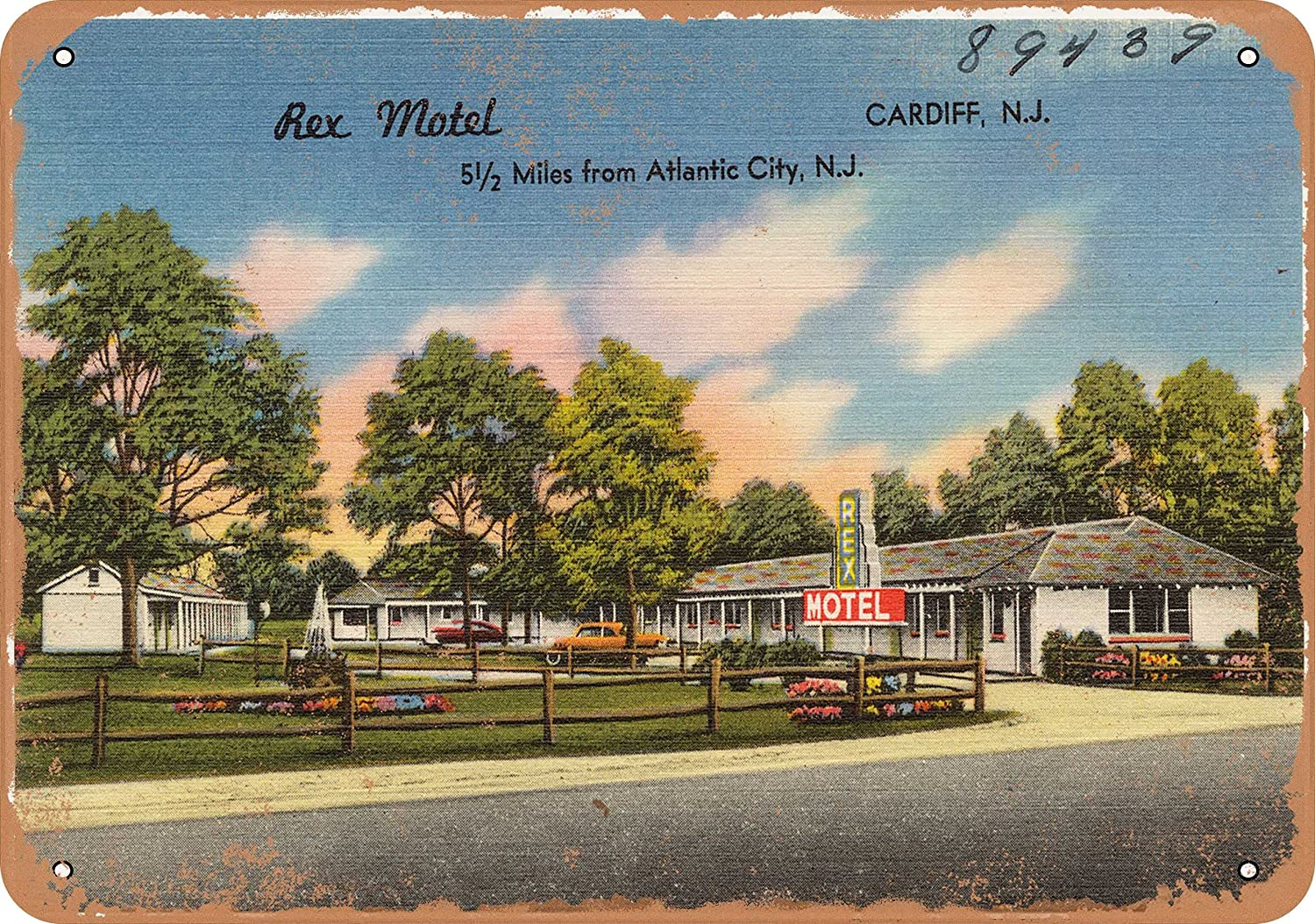 Wall-Color 10 x 14 Metal Sign - New Jersey Postcard - Rex Motel, Cardiff, N.J, 5 1 2 Miles from Atlantic City, N.J. 1 - Vintage Rusty Look
