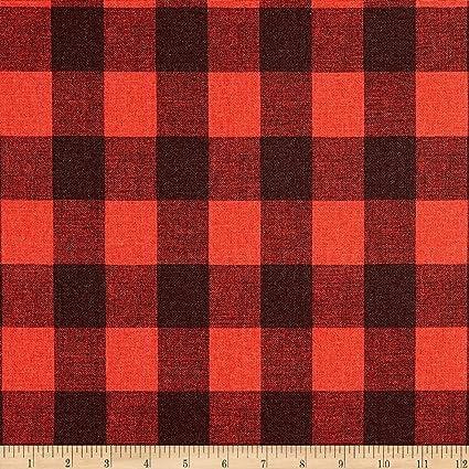d354d932cab Amazon.com: Premier Prints Buffalo Plaid Cotton Duck Red/Black Fabric Fabric  by the Yard