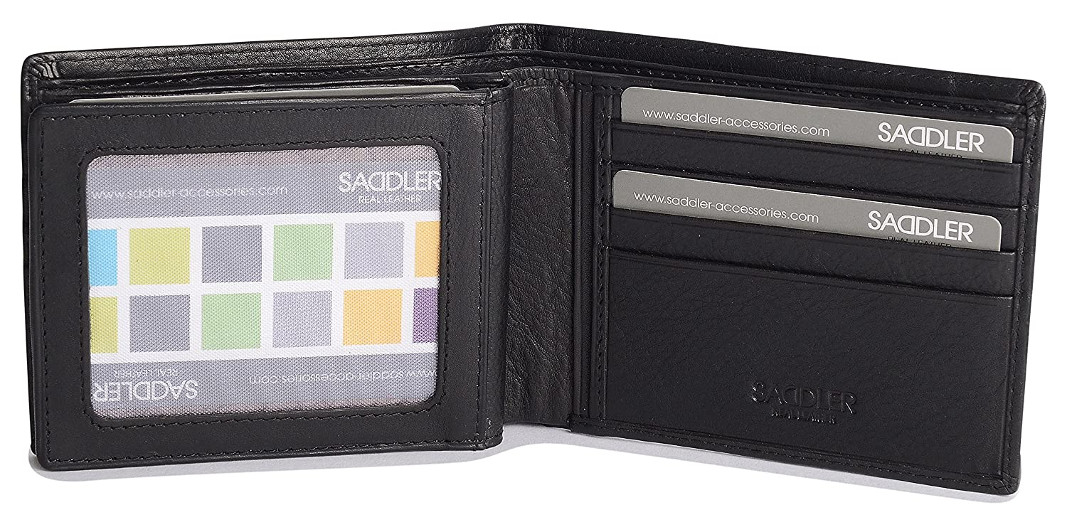 4ebec4723d SADDLER Soft Nappa Leather 2 Section 12 Credit Card Billfold with Centre ID  Wing at Amazon Men s Clothing store