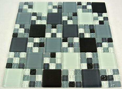 Piastrelle mosaico mosaico piastrelle bagno cucina grigio nero