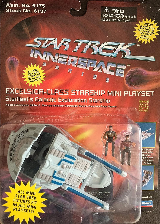 Star Trek Excelsior Class Starship Mini Playset w// Riker /& LaForge Innerspace Series Playmates