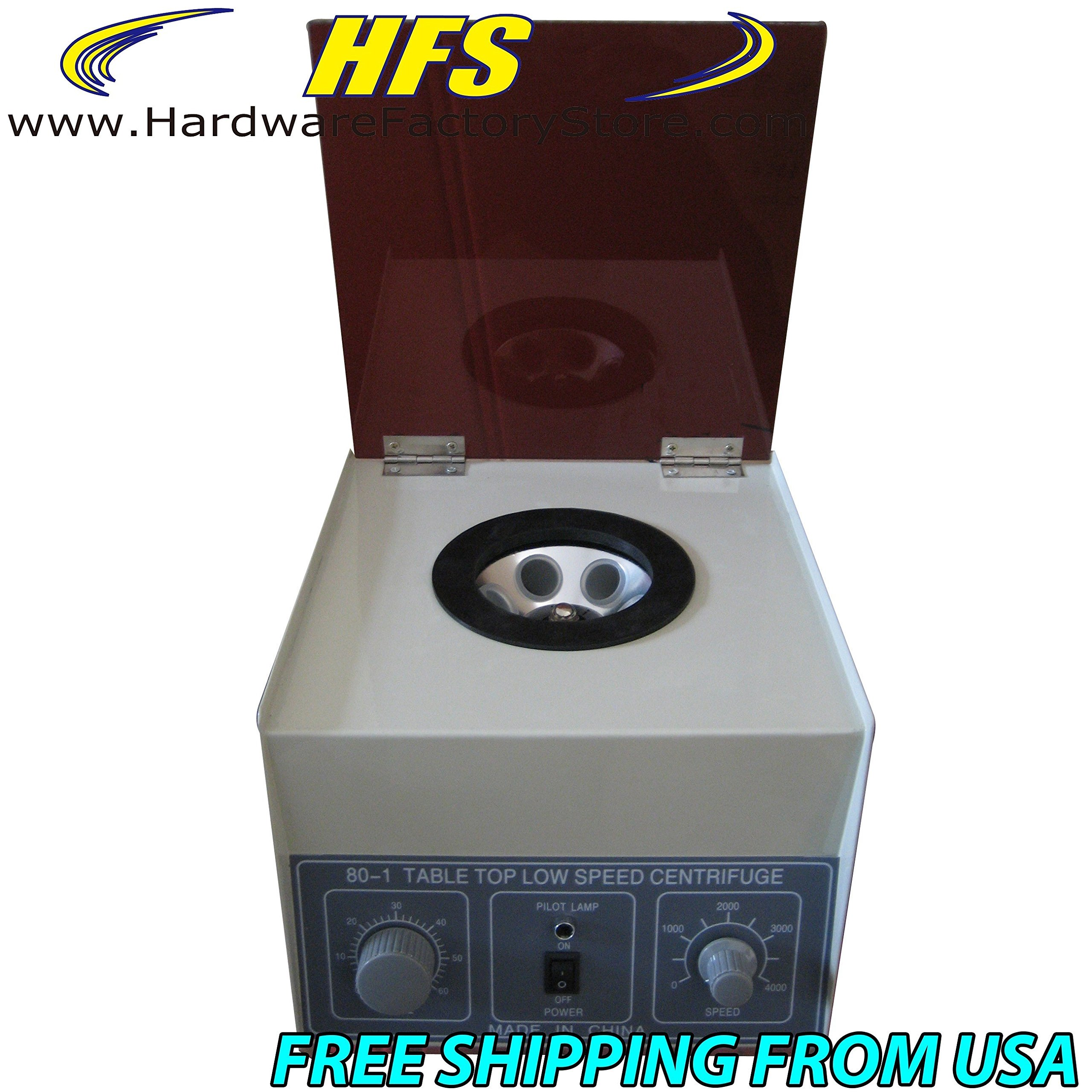 HFS (R) New Desktop Electric Centrifuge Lab (Timer 0-30min) Speed: 0-4000 Rpm, Cap:20ml X 6 Tube (80-1) 110v/60hz by Hardware Factory Store (Image #2)