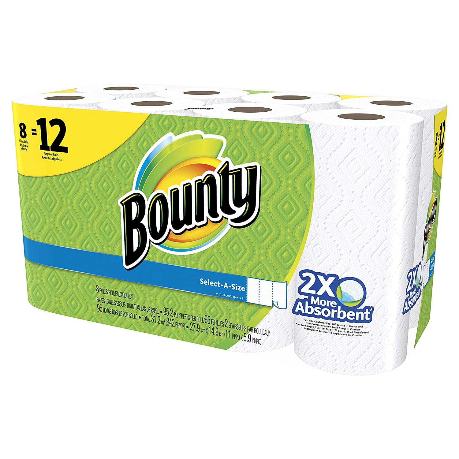 Bounty Select-A-Size Paper Towels, White, Giant Roll - 12 pk by Bounty: Amazon.es: Salud y cuidado personal