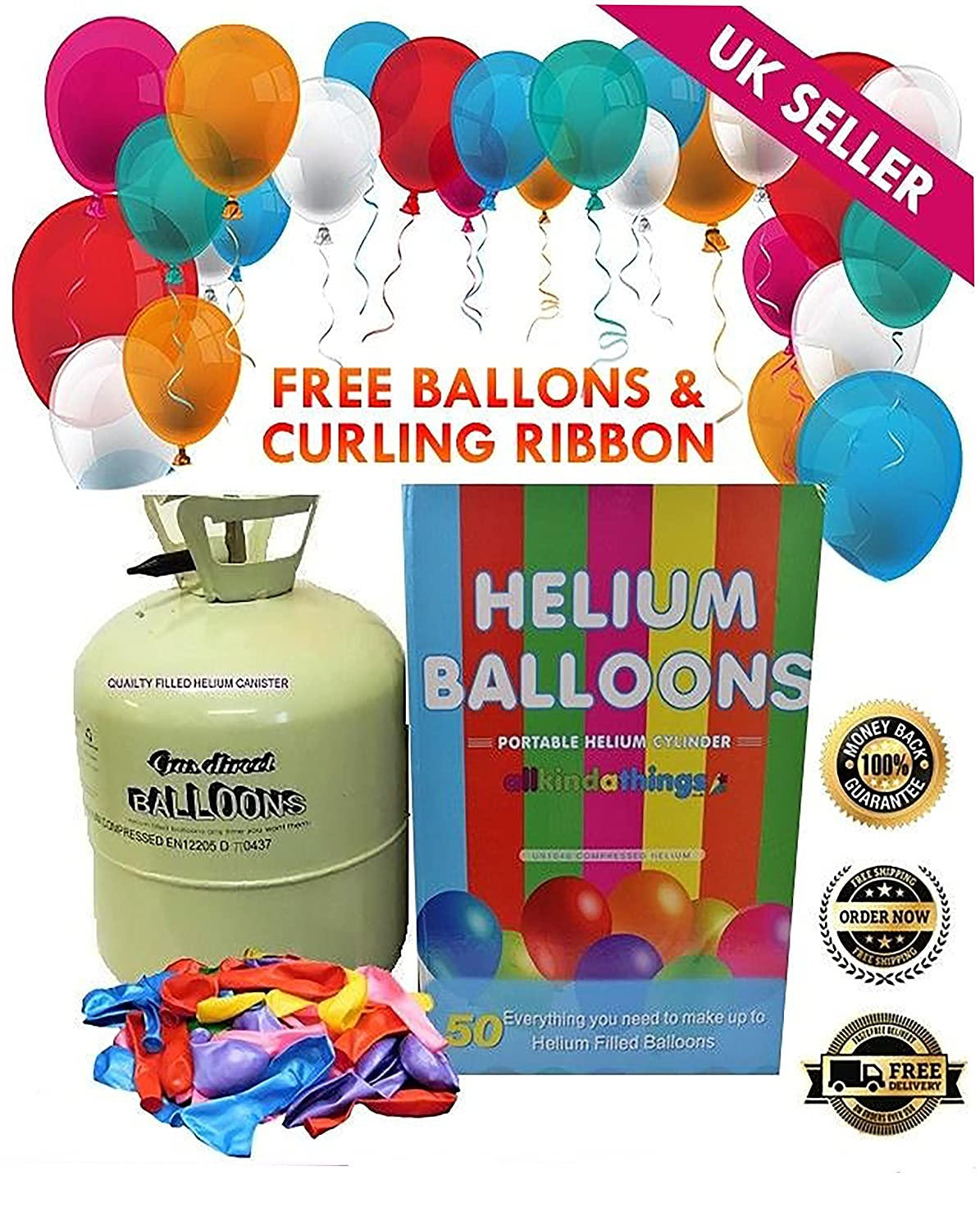 Disposable Helium Large Gas Canister Cylinder To Fill 50 Balloons with Balloons Included Allkindathings 252262211997