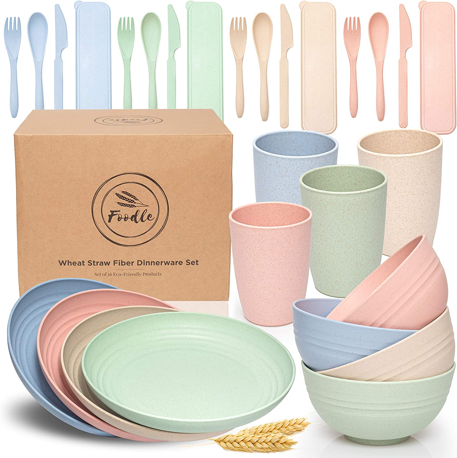 FOODLE Wheat Straw Dinnerware Sets - (28pcs) Lightweight & Unbreakable Dinnerware Set - Microwave and Dishwasher Safe - Eco friendly & Reusable Plates, Cups, Bowls and Cutlery - Great for Kids & Adult