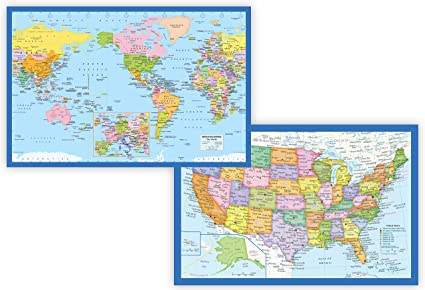 Small Map Of The United States.Amazon Com Classic United States Usa Map And World Map Set Small