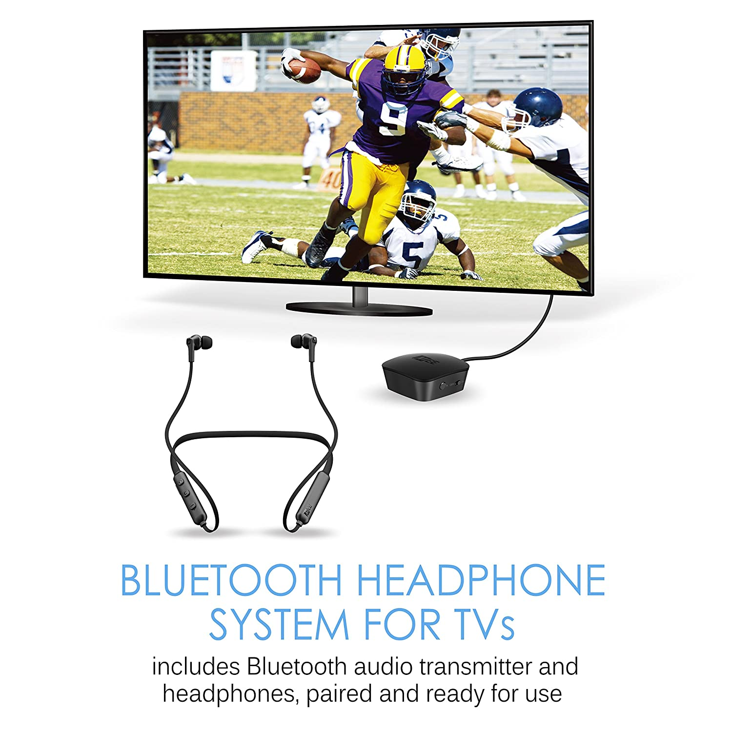 Amazon.com: MEE audio Connect T1N1 Bluetooth Wireless Headphone System for TV - Includes Bluetooth Wireless audio Transmitter and Wireless Neckband In-Ear ...