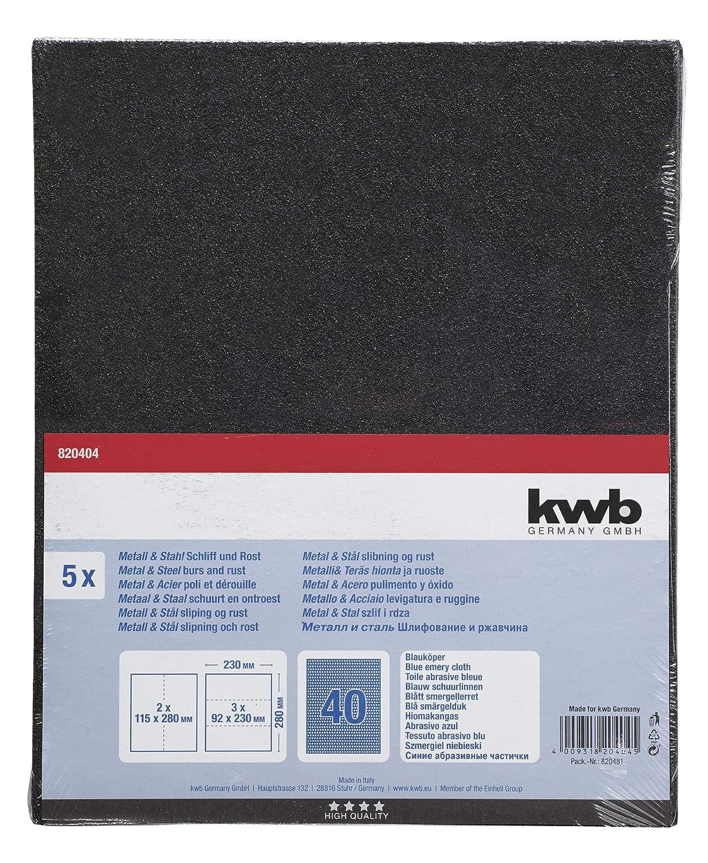 5 unidades kwb 820404 Hoja de lija de papel de alta calidad para metal y acero fabricado en Europa. Grano K-40 230 x 280 mm etc para eliminar /óxido pinturas sellado