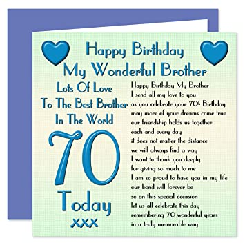 Brother 70th Happy Birthday Card Lots Of Love To The Best Brother