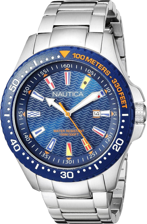 Nautica Reloj Analogico para Hombre de Cuarzo con Correa en Acero Inoxidable NAPJBC004