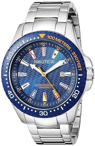 Nautica Reloj Analogico para Hombre de Cuarzo con Correa en Acero Inoxidable NAPJBC004: Amazon.es: Relojes