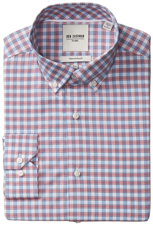 Ben Sherman Men's Slim Fit Multi Check Button Down Collar Dress Shirt