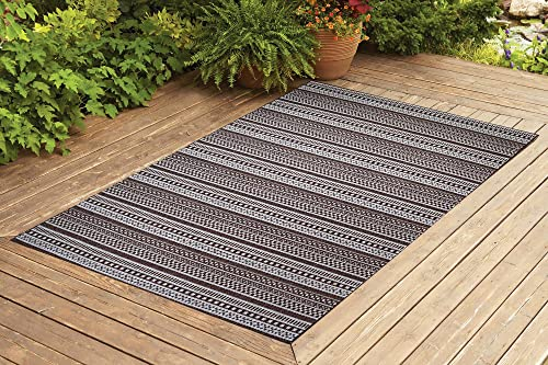 Benissimo Indoor Outdoor Rug Stripes Collection Non-Skid, Natural Sisal Woven and Jute Backing Area Rugs for Living Room, Bedroom, Kitchen, Entryway, Hallway, Patio, Farmhouse Decor, 8×10, Dark Brown