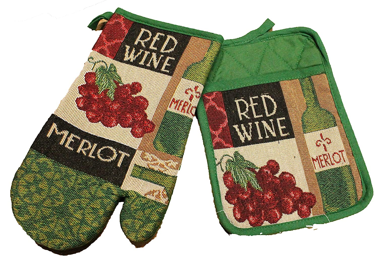 Twisted Anchor Trading Co 2 Pc Wine Pot Holder Set with Wine Oven Mitt - Great Wine Kitchen Gift Set - Comes in an Organza Gift Bag so It's Ready for Giving