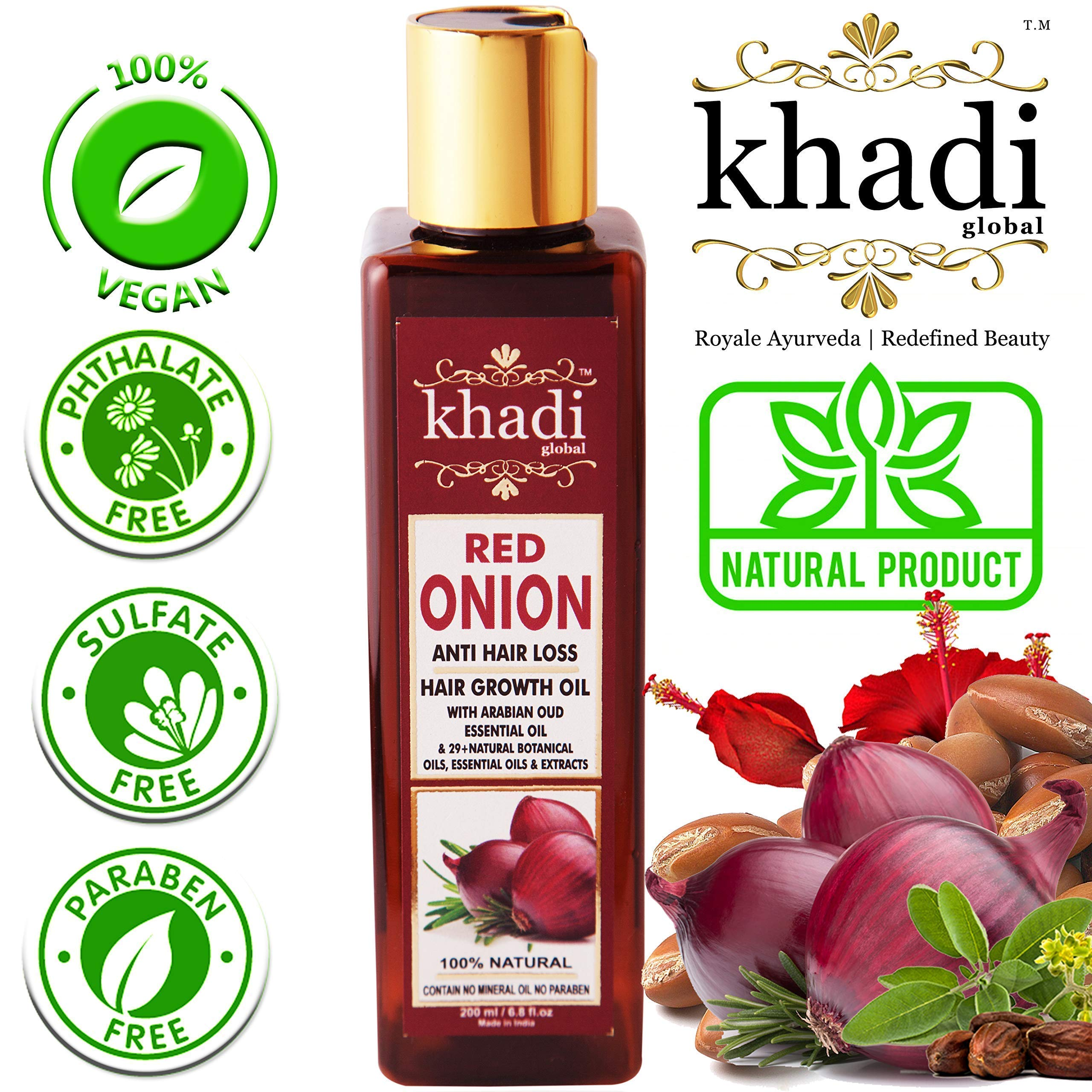 KHADI GLOBAL RED ONION HAIR GROWTH OIL WITH PURE ARGAN, JOJOBA, ROSEMARY, BLACK SEED OIL IN PUREST FORM VERY EFFECTIVELY CONTROL HAIR LOSS, PROMOTES HAIR GROWTH 100% NATURAL HAIR FOOD 200ml/6.76 fl.oz product image