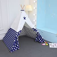 UKadou Kids Teepee Tent For Boys Children Canvas Play Tent for Indoor Outdoor Kids Playhouse Tent, Come With Carrying Bag