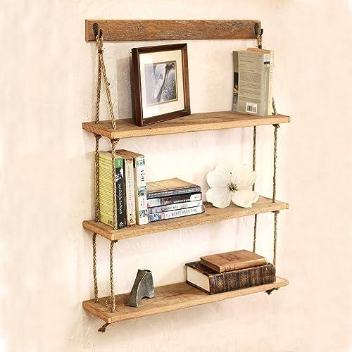Hanging Reclaimed Wood Rope Shelf   Three Tier Shelf