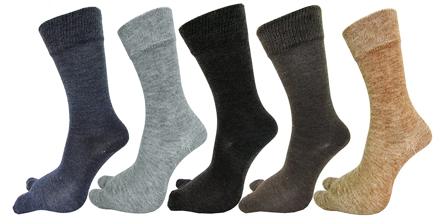 RC. ROYAL CLASS Women's Warm Woolen Calf Length Thumb Socks (Multicolour, Large)- Set of 5 Pairs