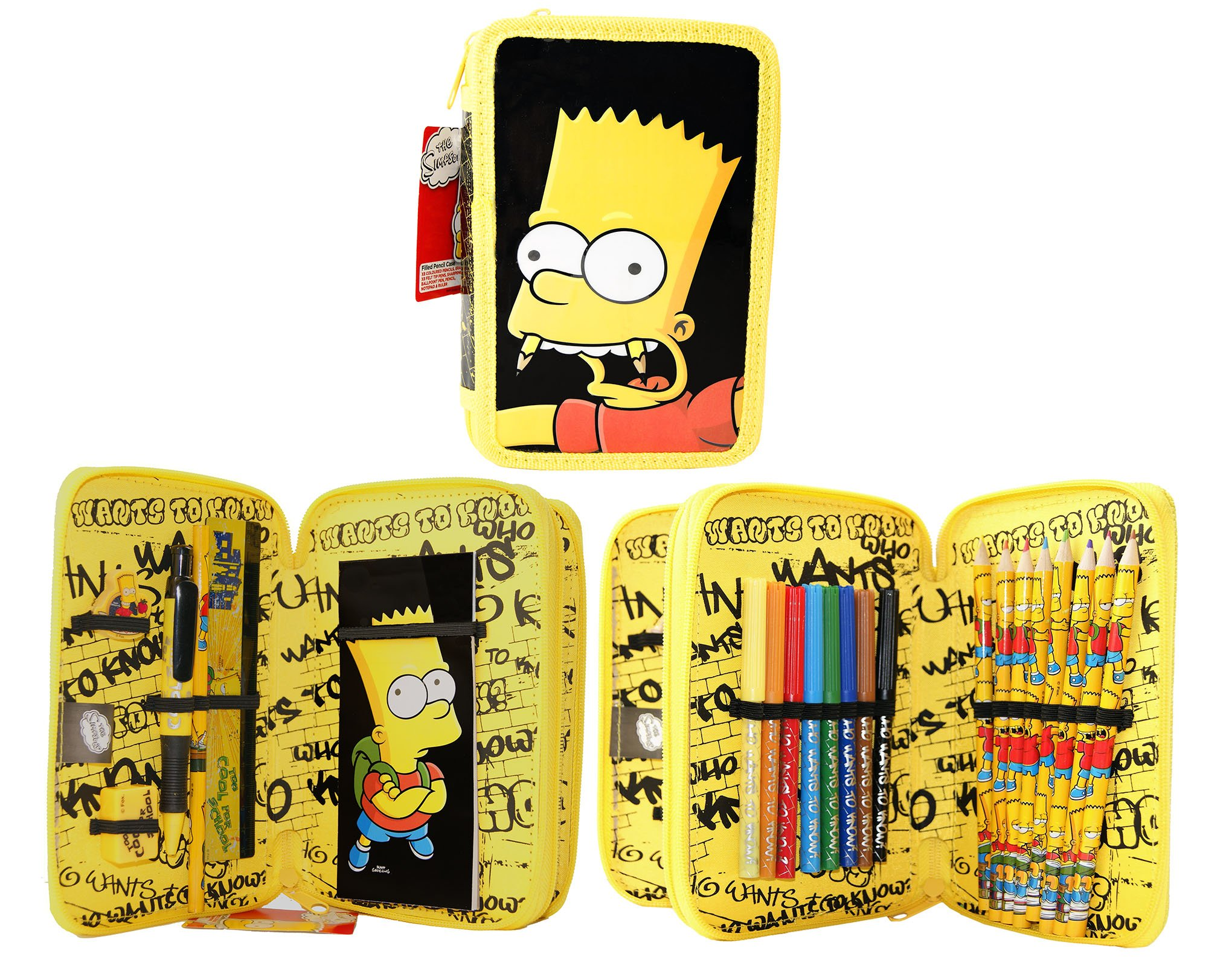 Simpsons Filled Pencil Case, 2 Layer Pencil Case!Official licensed