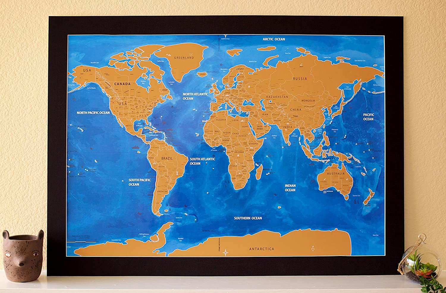 Amazon nomadik scratch off world map poster large ocean amazon nomadik scratch off world map poster large ocean blue edition artistic unique design underneath geographic icons office products gumiabroncs Choice Image
