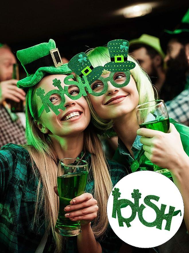 Patricks Day Party Favors Supplies 24 Pairs St.Patricks Day Glasses Irish Paper Eyeglasses Frames Green Shamrock Beer Irish Lucky Leprechaun Hat Eyewear Party Eyeglasses Frames Photo Props for St