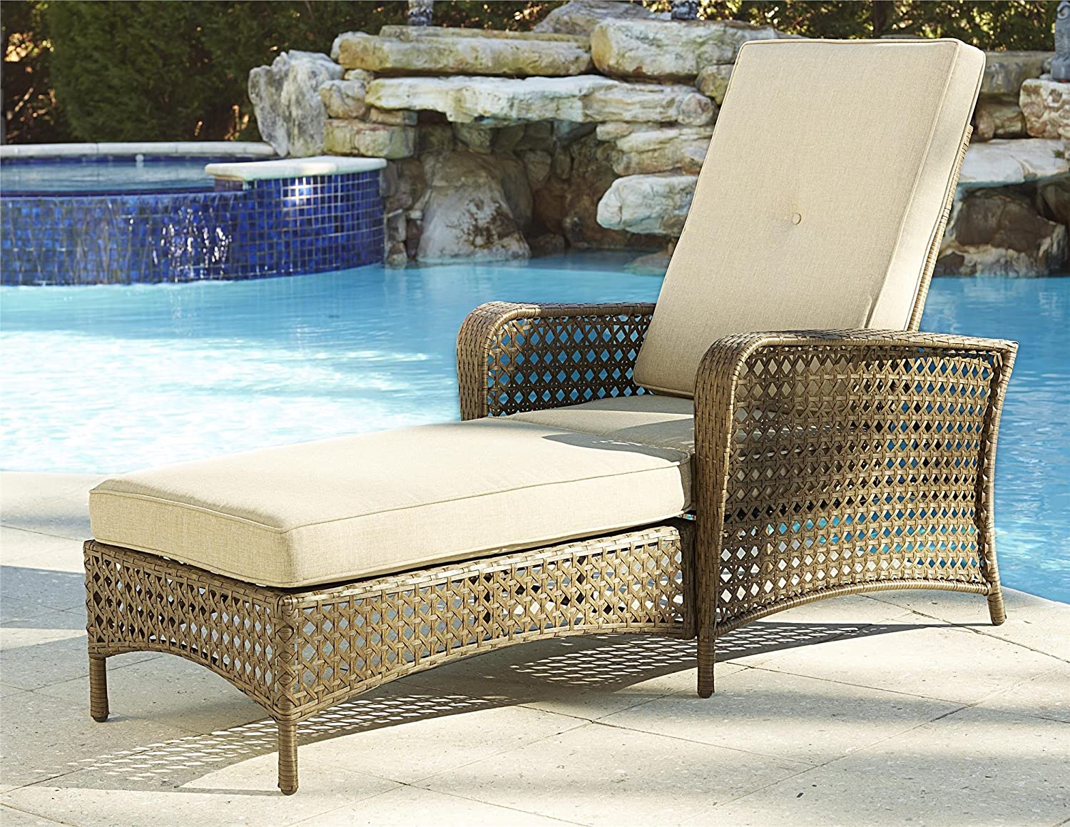 Cosco Outdoor Adjustable Chaise Lounge Chair Lakewood Ranch Steel Woven Wicker Patio Furniture with Cushion, Brown