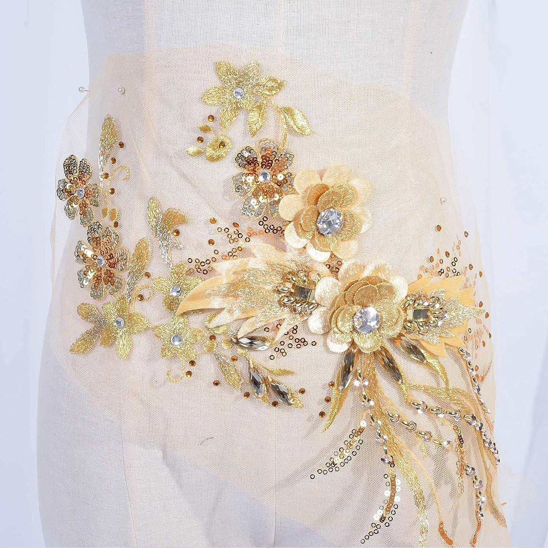 A170-b Gold Lace Applique Unique Lace Applique Bodice Lace Gold Champagne Gold Dancing Costume Lace Applique Heavy Beaded Lace Applique