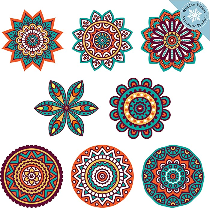 Boho Decor | 8 Mandala Sun Catchers Window Clings | Stained Glass Window Cling | Sun Catcher for Windows Decoration | Glass Door Safety Decals
