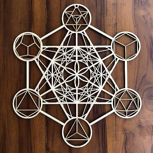 ZenVizion 13.5 Metatron s Cube Wall Art, Sacred Geometry Wall Art, Wooden Wall Art Decor, Yoga Wall Art Hanging, Laser Cut Artwork, Wall Sculpture Symbol, Gift purpose
