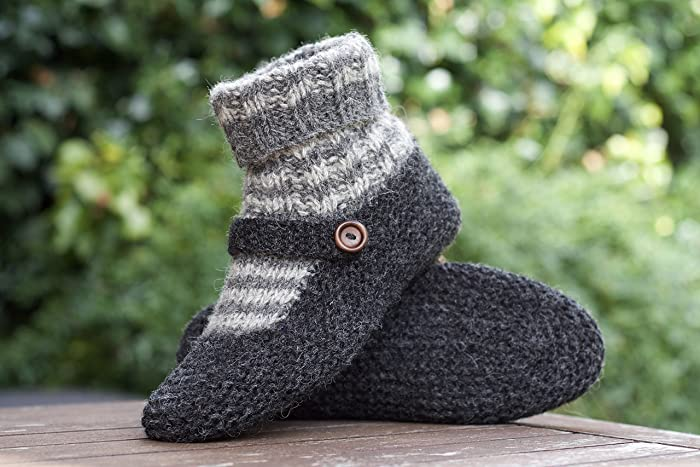 934d4b393d795 Knit Slippers Wool Socks Grey Chunky Hand knitted Handmade from Pure ...