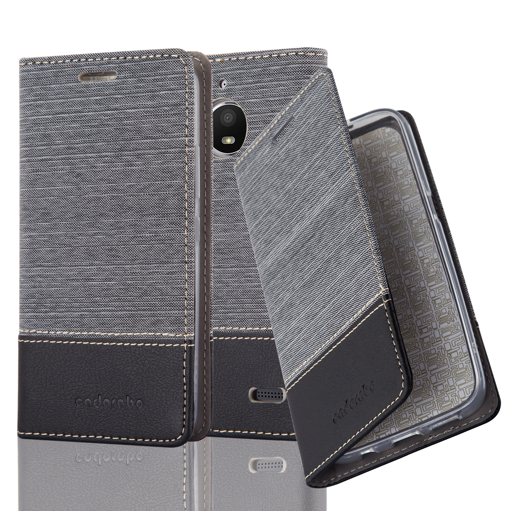 Cadorabo Case works with Lenovo (Motorola) MOTO E4 Book Case in GREY BLACK (Design FABRIC-FAUXLEATHER) – with Magnetic Closure, Stand Function and Card Slot – Wallet Etui Cover