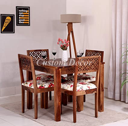 Custom Decor Cnc Cuting Sheesham Wood Dining Table 4 Seater Wooden Dining Room Furniture 4 Chairs With Cushion Honey Teak Brown Finish Amazon In Home Kitchen