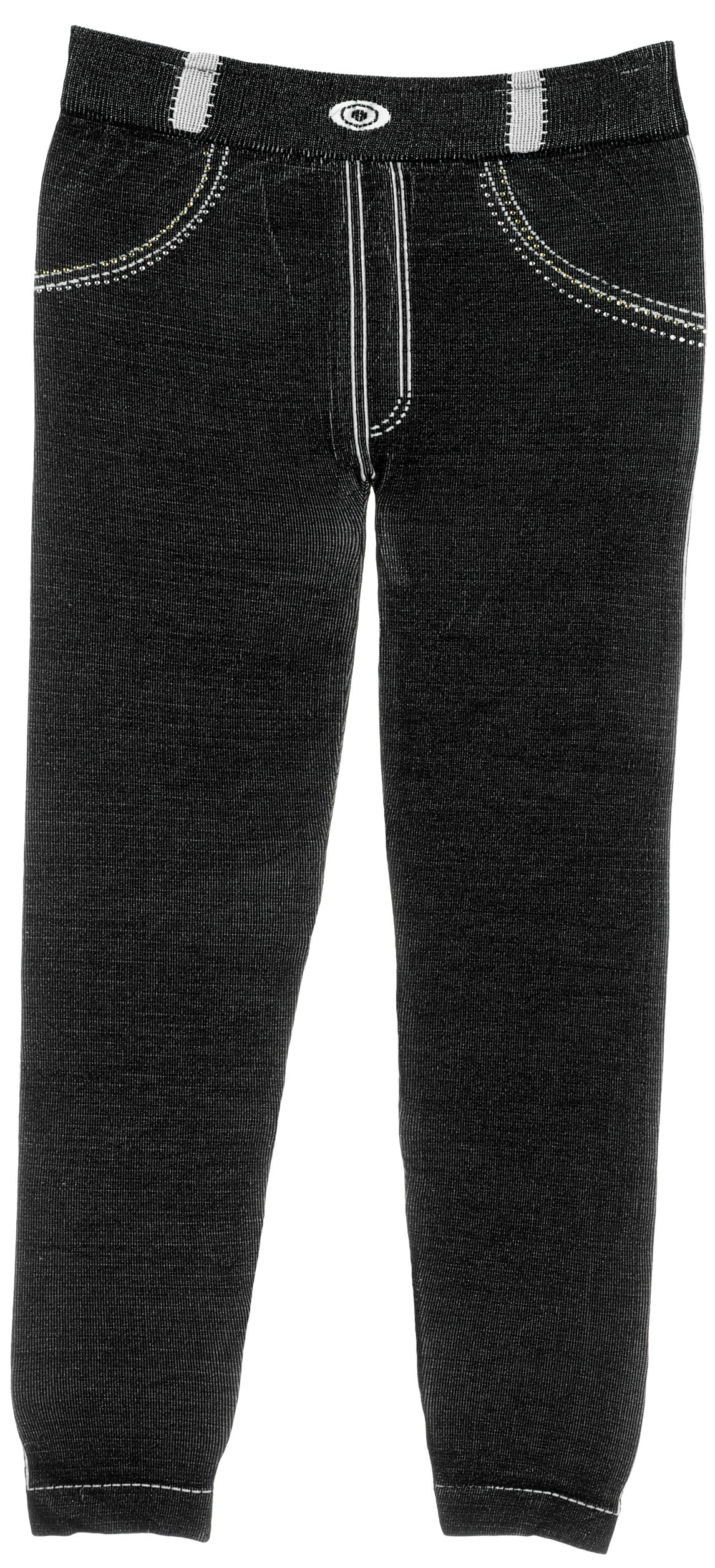 Girl's Stretch Fit Jeggings with Realistic Look & Texture in Black